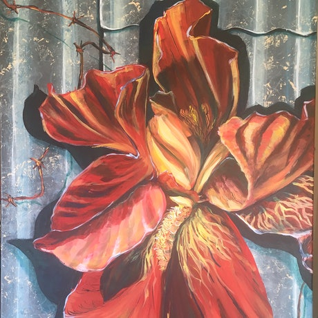 (CreativeWork) Iris - Corsage by Melanie Spurling. Acrylic Paint. Shop online at Bluethumb.