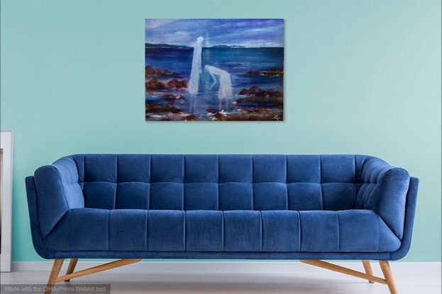 (CreativeWork) The Shell Seekers 102x76x3.5 by Louise Croese. Acrylic Paint. Shop online at Bluethumb.