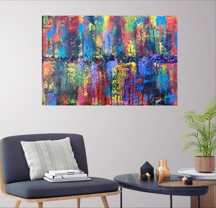 (CreativeWork) Bow before the Lion (abstract expressionism) by Nina Bach. #<Filter:0x00007f5149a22a78>. Shop online at Bluethumb.
