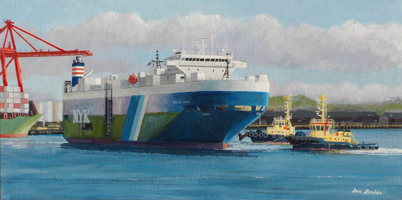 (CreativeWork) Tugs At Work by Don Braben. oil-painting. Shop online at Bluethumb.