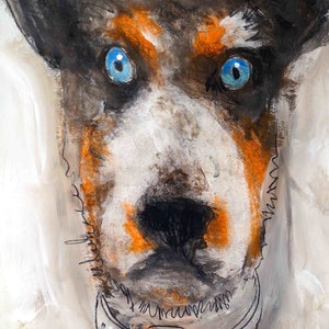 (CreativeWork) Collared Doggie by John Graham. mixed-media. Shop online at Bluethumb.