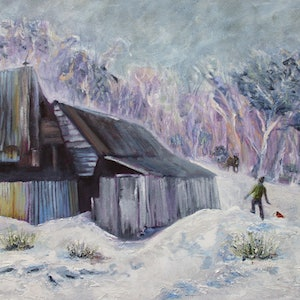 (CreativeWork) Mystery brumby in the snow, Four Mile Hut, Kosciuszko by fiona smith. oil-painting. Shop online at Bluethumb.