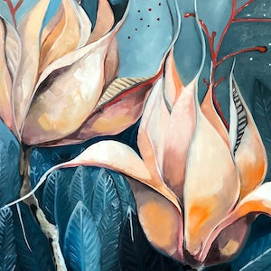 (CreativeWork) Passion Flower by Sam Suttie. oil-painting. Shop online at Bluethumb.