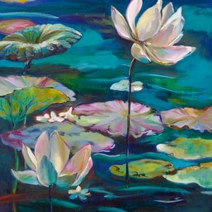 (CreativeWork) Waterlily Fantasia by Carmen McFaull. oil-painting. Shop online at Bluethumb.