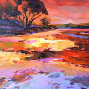 (CreativeWork) Salt Lake Sunset by Carmen McFaull. oil-painting. Shop online at Bluethumb.