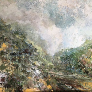 (CreativeWork) The Valley by Liz Muir. oil-painting. Shop online at Bluethumb.