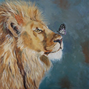 (CreativeWork) A  Butterfly and a Lion by Julie Hollis. arcylic-painting. Shop online at Bluethumb.