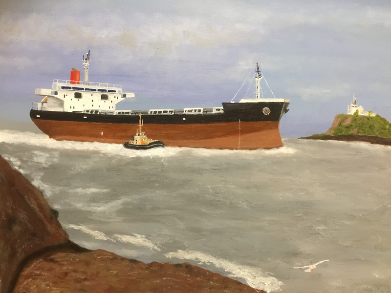 (CreativeWork) Coal Carrier on the Hunter River by John Albert Barnes. Oil Paint. Shop online at Bluethumb.
