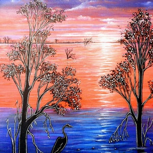 (CreativeWork) Sunset Blues by Linda Callaghan. arcylic-painting. Shop online at Bluethumb.