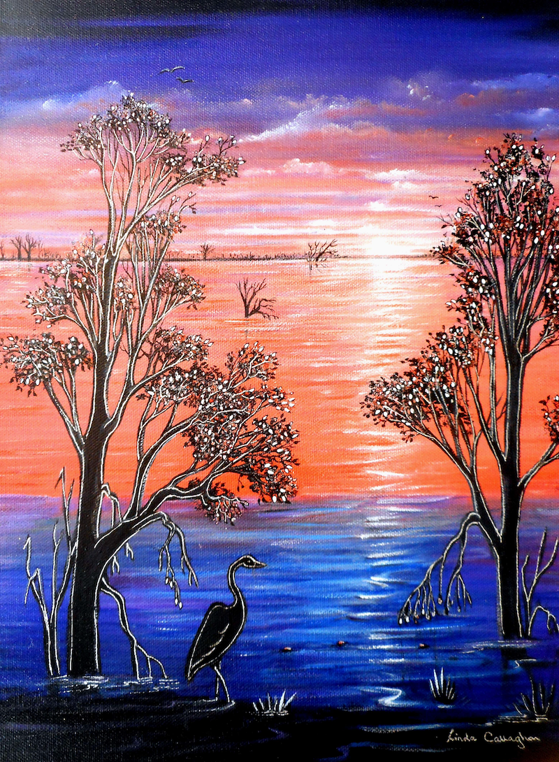 (CreativeWork) Sunset Blues by Linda Callaghan. Acrylic Paint. Shop online at Bluethumb.