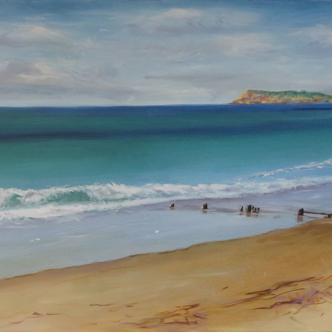 (CreativeWork) Encroaching Sea by Diane Hodson. oil-painting. Shop online at Bluethumb.
