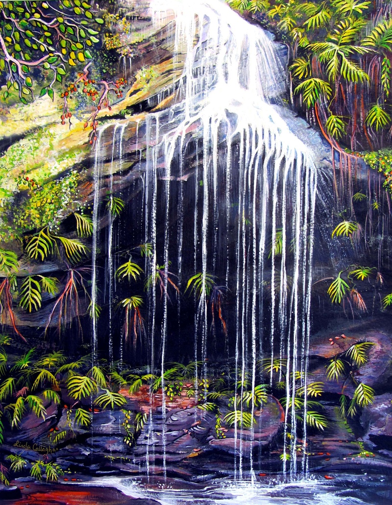 (CreativeWork) Adelina Falls, Blue Mountains by Linda Callaghan. arcylic-painting. Shop online at Bluethumb.