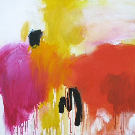 (CreativeWork) Magenta meets yellow and orange by Susan Lhamo. Acrylic Paint. Shop online at Bluethumb.