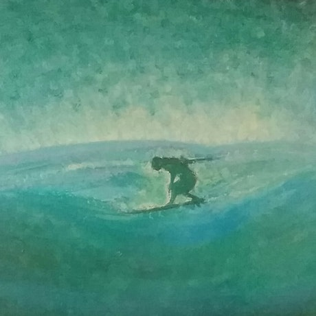 (CreativeWork) How fish see surfer by peter dutton. Acrylic Paint. Shop online at Bluethumb.