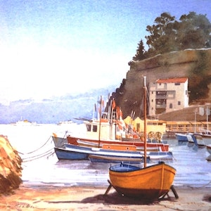 (CreativeWork) Marina piccolo Sorrento by Don Braben. watercolour. Shop online at Bluethumb.