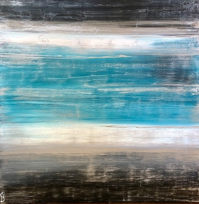 (CreativeWork) Rustic - original modern painting on canvas by Debra Ryan. Mixed Media. Shop online at Bluethumb.