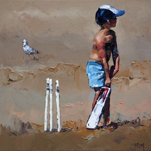 (CreativeWork) Beach Cricketer III - Limited Edition Giclee Art Print   Ed. 14 of 100 by Claire McCall. print. Shop online at Bluethumb.