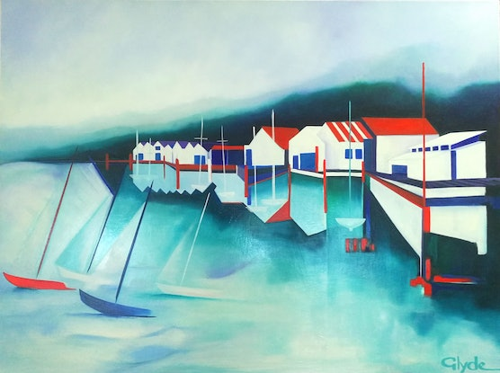 (CreativeWork) Skiff Club by L E Glyde. Oil Paint. Shop online at Bluethumb.