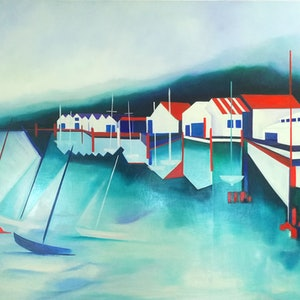 (CreativeWork) Skiff Club by Cindy Glyde. oil-painting. Shop online at Bluethumb.