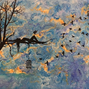 (CreativeWork) Set me free by Mahyat Tehrany. oil-painting. Shop online at Bluethumb.