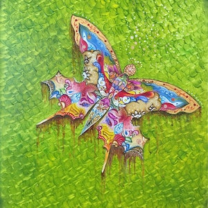(CreativeWork) Butterfly by Mahyat Tehrany. oil-painting. Shop online at Bluethumb.