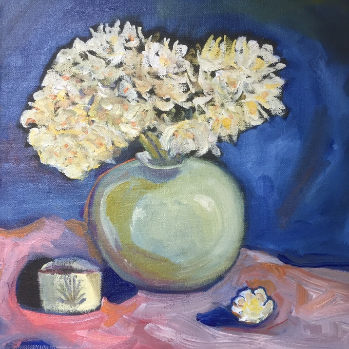 (CreativeWork) Early Cheer by Annie Jordan. oil-painting. Shop online at Bluethumb.