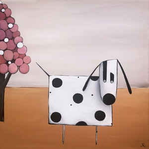 (CreativeWork) Dog by the Cotton Candy Tree by Julie Robertson. arcylic-painting. Shop online at Bluethumb.