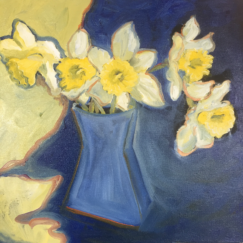 (CreativeWork) First Daffodils by Annie Jordan. oil-painting. Shop online at Bluethumb.