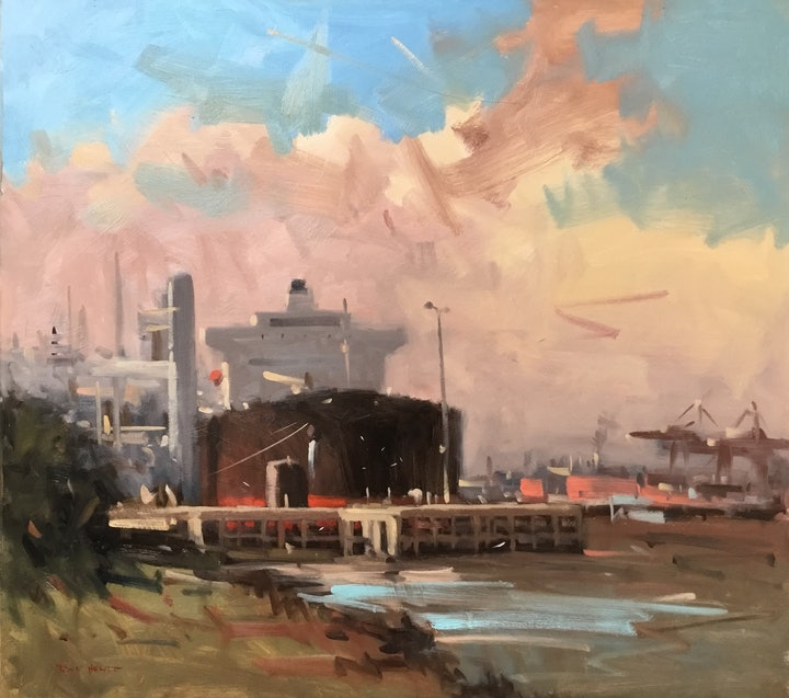 (CreativeWork) Oil terminal by Raymond Hewitt. oil-painting. Shop online at Bluethumb.