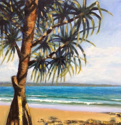 (CreativeWork) Beach Pandanus by Anne Strambi. Oil Paint. Shop online at Bluethumb.