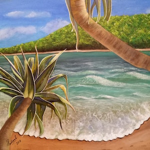 (CreativeWork) The Beach by Sandhya Padma. arcylic-painting. Shop online at Bluethumb.
