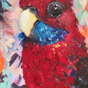 (CreativeWork) Cheeky Rosella by Emily Bartsch. arcylic-painting. Shop online at Bluethumb.
