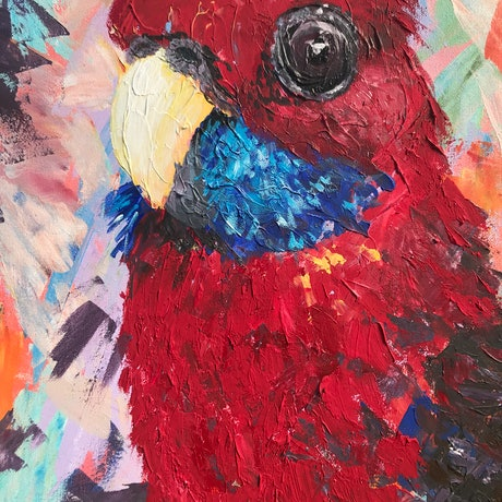 (CreativeWork) Cheeky Rosella by Emily Bartsch. Acrylic Paint. Shop online at Bluethumb.