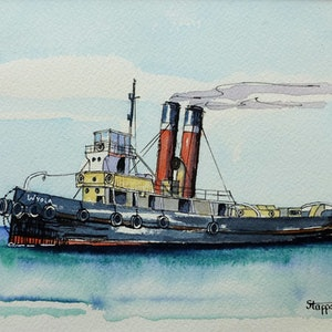 "(CreativeWork) The Old Steam Tug ""SS WYOLA"" by Hadyn Kiesey. watercolour. Shop online at Bluethumb."