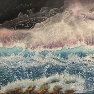 (CreativeWork) Angry  Seas by Donna Parker. arcylic-painting. Shop online at Bluethumb.