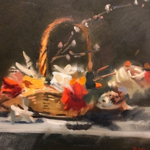 (CreativeWork) Floral Cornucopia by Ray Wilson. oil-painting. Shop online at Bluethumb.