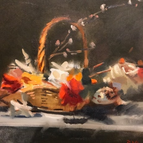 (CreativeWork) Floral Cornucopia by Ray Wilson. Oil Paint. Shop online at Bluethumb.