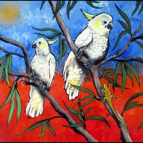 (CreativeWork) Outback Meeting by Sally Ford. Acrylic Paint. Shop online at Bluethumb.