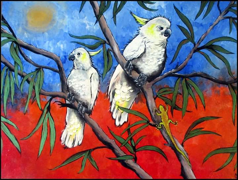 (CreativeWork) Outback Meeting by Sally Ford. arcylic-painting. Shop online at Bluethumb.