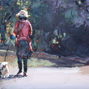 (CreativeWork) Walking The Dog by Claire McCall. oil-painting. Shop online at Bluethumb.