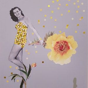 (CreativeWork)  'The  Showgirl and the Peony (series - #1)' by Karen Coull. mixed-media. Shop online at Bluethumb.