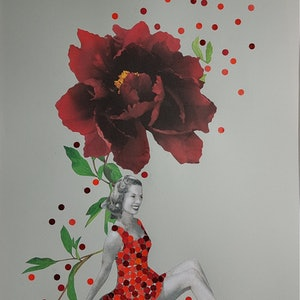 (CreativeWork)  'The  Showgirl and the Peony (series - #2)'  by Karen Coull. mixed-media. Shop online at Bluethumb.