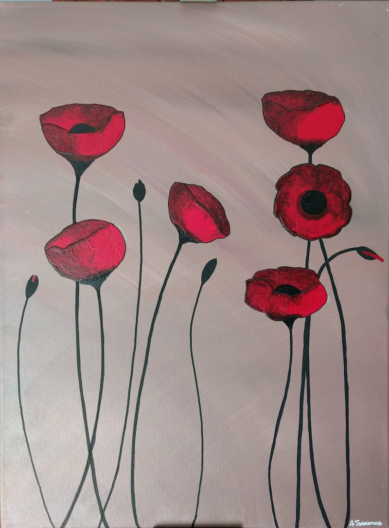(CreativeWork) REDHEAD POPPIES by Arthur Tsakonas. arcylic-painting. Shop online at Bluethumb.