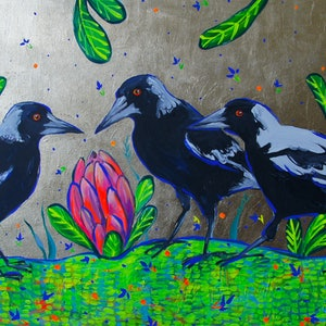 (CreativeWork) Magpies on Gold by Katerina Apale. arcylic-painting. Shop online at Bluethumb.