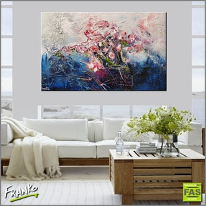 (CreativeWork) Blue Bloom 160cm x 100cm textured gloss finish Highly textured. Romance Abstract series by _Franko _. mixed-media. Shop online at Bluethumb.
