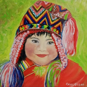 (CreativeWork) Happiness is a Good Hat by Cathy Gilday. oil-painting. Shop online at Bluethumb.