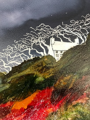 (CreativeWork) The Hidden Cottage by the Sea.  by Meg Lewer. Mixed Media. Shop online at Bluethumb.