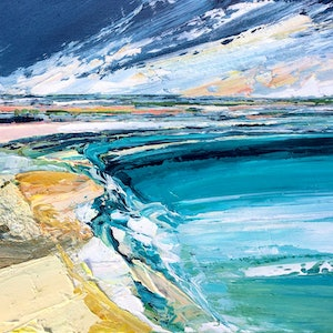 (CreativeWork) Sand And Sea by Katie Wyatt. arcylic-painting. Shop online at Bluethumb.