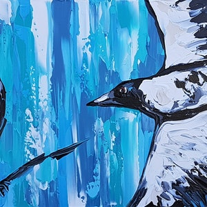 (CreativeWork) Just a Pair of Magpies by Lisa Fahey. arcylic-painting. Shop online at Bluethumb.