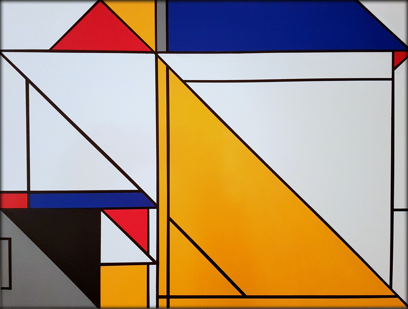 (CreativeWork) Triamon #2 - Large Colourful Abstract 120cm x 100cm - Mondrian Style by Graham Eldridge. arcylic-painting. Shop online at Bluethumb.